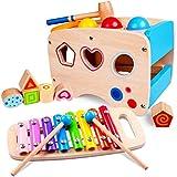 Rolimate Xylophon und Hammerspiel Spielzeug ab 1 Jahr, 3 in 1 Montessori Pädagogisches Vorschullernen Musikspielzeug Holzspielzeug Nachziehspielzeug Geburtstagsgeschenk fur Kinder Baby 1 2 3 Jahre