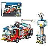 CALEN City Feuerwehr Station Baukasten für Flughafenrettung Feuerwehrauto mit Feuerwehrauto und Sprinkler, kompatibel mit Lego 60215