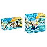 PLAYMOBIL Family Fun 70611 Kinderbecken mit Whirlpool, Zum Bespielen mit Wasser, Ab 4 Jahren & Family Fun 70112 Badegast mit Schwimmreifen, Schwimmfähig, Ab 4 Jahren