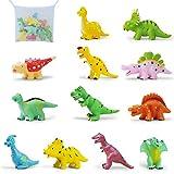 E T Dinosaurier Spielzeug , Badespielzeug , 12 Stück Dinosaurier Wasserspielzeug Badewannenspielzeug mit Wasserspray und Fischernetz Geeignet für 1, 2 , 3 Jahre alte Kinder