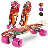Gonex Skateboard für Kinder, 22' Mini Cruiser für Mädchen Jungen Anfänger 55cm Vintage Retro Komplettboard ABEC-7 mit PU Rollen, Graffiti Rosa