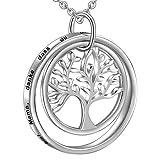 LOVORDS Damen Personalisierte Halskette Gravur 925 Sterling Silber Kreis Lebensbaum Kette Anhänger Geschenk für Mutter Mama Frauen Freundin Oma Tochter
