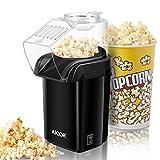 AICOK Popcornmaschine, Popcorn Maker Machine für Zuhause, Heissluft Popcornmaker Ohne Fett Fettfrei Ölfrei, Messlöffel, 1200W Popcorn Popper, Schwarz