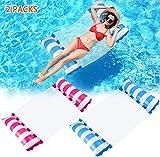 Wasserhängematte Aufblasbares Schwimmbett 2 PCs, Poolhängematten 4 in 1 Luftmatratze Pool Liege Sessel Aufblasbar Wasser Hängematte Stuhl Schwimmmatte für Erwachsene und Kinder
