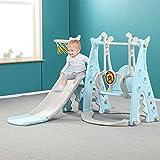 Rutsche und Schaukel für Kleinkinder, 4-in-1, Spielset mit Basketballkorb, extra lange Rutsche, einfach aufzubauende Babyrutsche für drinnen und draußen, Hinterhof