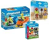 PLAYMOBIL Strassenreiniger 3-teiliges Set: 70203 Kehrmaschine + 70249 Straßenreiniger + 70272 DuoPack Bauarbeiter