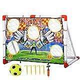 HOMCOM Fußballtore mit Fußball Torwand für Kinder 3-12 Jahre Fußballnetz Garten Kunststoff Mehrfarbig 116 x 48 x 76 cm