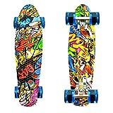 LISOPO Mini Cruiser Penny Skateboard 57cm mit Stabilem Deck und 4 Transparenten PU-Rollen für Kinder Anfänger Mädchen Jungen, Beste Geburtstagsgeschenke für Kinder/Teenager, Joker