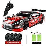 FancyWhoop GT Drift Car RC Sport Rennwagen Hochgeschwindigkeits Drift Fahrzeug 1/16 RC Auto für Erwachsene Kinder Geschenke, 4WD RTR Fahrzeug mit LED-Licht, Zwei Batterien und Drift Reifen (rot)