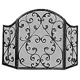 HWLL Kamingitter Verzierter Funkenzaun mit Dekorativer Schriftrolle, 3-Panel-Brandschutzschutz für Wohnzimmerkamin/Feuerstelle Im Freien/Terrassenofen, 48 Zoll X 32 Zoll (Color : Black)