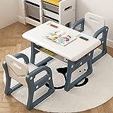 YSXFS Kinderschreibtisch, Moderner Tisch Für Kinder Und 2 Stuhl-Set, Kinder Multifunktionales Lernen Schreibtisch Zum Essen Tisch Mit Leichter Regal Pädagogische Geschenke Für Alter 3-8(Color:Blue)