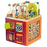 B. toys Großer Motorikwürfel, Motorikspielzeug Activity Center mit Motorikschleife mit Zootieren, Holzspielzeug Baby Spielzeug ab 1 Jahr