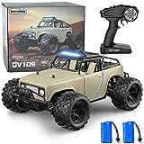GizmoVine Ferngesteuertes Auto, 4WD 40KM / H 2,4 GHz Hochgeschwindigkeits Hobby RC Auto, Kollisionsvermeidung und Wasserdicht, mit 380 Starkem Magnetmotor, für Kinder und Erwachsene (Khaki)