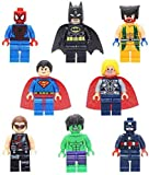 LKG ® 8-teiliges Superhelden-Set - Kompatibel mit Lego - Batman, Ironman, Wolverine, Captain America, Hulk, Thor, Deadpool, Spiderman - Cake Toppers