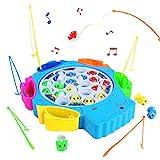Angelspiel Fisch Angeln Spielzeug Musik Kinderspielzeug Pädagogisches Spielzeug ab 3 4 5 6 Jahren Junge Mädchen (21 Fische)
