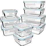 GENICOOK Glas-Frischhaltedose Set/Vorratsdosen Glas mit Deckel/Meal prep Boxen/Aufbewahrungsbehälter/Lebensmittelbehälter - Geschirr für mikrowelle-LFGB-zugelassen für Home Küche(9er-Set)
