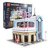 Mould King 16001 City Street View Kreativserie Kalifornisches Restaurant, 2078 Stück Bausteine Haus Mit Beleuchtung, Spielzeugpuzzle Baustein Modellbausatz Kompatibel Mit Lego klemmbausteine House