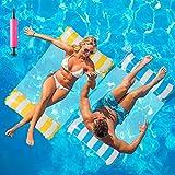 Huarumei 2Stk Luftmatratze Pool, Pool Spielzeug Erwachsene 4 In 1 Aufblasbare Wasserspielzeug Pool Zubehör, Pool Wasserhängematte Wasser Hängematte für Sessel Matratzen Sitz Schwimmmatte, Blau & Gelb