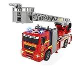 Dickie Toys City Fire Engine, Feuerwehrauto mit manueller Wasserspritze, Feuerwehr, Einsatzfahrzeug, Licht & Sound, 31 cm, ab 3 Jahren