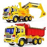 GizmoVine Bagger Sandkasten, 2 Stück Bagger Spielzeug mit Lichtern und Geräuschen für Kinder Jungen Mädchen 2 Jahren
