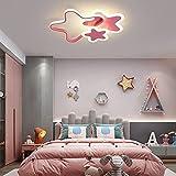 LED Deckenleuchte Kinderzimmerlampe Modern Dimmbar Mädchen Junge Schlafzimmer Babyzimmer Deko Decke Lampe Acryl-schirm Pendellampe Esszimmer Küchen Bad Wohnzimmer mit Fernbedienung Stern Design Rosa
