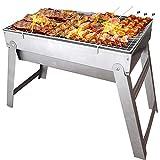 TOORGGOO Grill, tragbarer kleiner zusammenklappbarer Holzkohlegrill, Schreibtisch, kaltgewalzter Eisenplatte, BBQ-Grill für Camping, Kochen, Picknick, Party