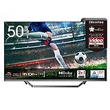 Hisense 50U7QF QLED 126cm (50 Zoll) Fernseher (4K ULED HDR Smart TV, HDR 10+, Dolby Vision & Atmos, Full Array Local Dimming, WCG, USB-Recording, Ultra Slim Design, Mittelstandfuß, Alexa Built-in)