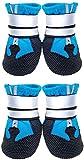 Lurowo Schutzstiefel für Hunde, 4er-Set wasserdichte Hundeschuhe mit sicheren reflektierenden Riemen, Pfotenschutz für kleine, mittlere und große Hunde, blau+schwarz