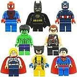 LKG ® 8-teiliges Superhelden-Set - Tortenaufsätze - Batman, Ironman, Wolverine, Captain America, Hulk, Thor, Deadpool, Spiderman - Kompatibel mit Lego
