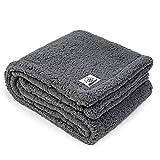 ALLISANDRO hochwertige Hundedecke 【M 80x60cm】 Graue Decke Fleecedecke Sehr Soft Warm Premium Flauschig Deck für Welpe Kätzchen Doppelte Nutzung
