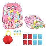 Sandspielzeug-Set, Fidget-Spielzeug-Set, Strandspielzeug für Kleinkinder, Sport-Kit, faltbares Spielbrett für Kinder, mit 8 bunten Wurfsäcken, einfach zu tragen, Outdoor-Sitzsack, Wurfspiel (Pink)