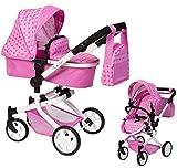 Ella & Piet® Puppenwagen MOOVE4 mit Wickeltasche 2in1 (Sternchen Pink)