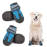 Dociote Hundeschuhe pfotenschutz 4 Stück mit Anti-Rutsch Sohle, reflektierendem Riemen, Klettverschluss wasserdicht für kleine mittelgroße große Hunde für Sommer Blau 3#