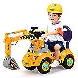 GOPLUS Schaufelbagger Spielzeug für Kleinkinder, Sitzbagger Sandspielzeug mit LED-Licht mit Musik, Digger Scooter Kinderfahrzeug Voll Funktionsfähig mit Helm mit Wasserungskanne, Harke und Schaufel