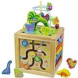Fajiabao Motorikwürfel Holzspielzeug 5 in 1 Dinosaurier Spielzeug Activity Center Baby Früherziehung Holzwürfel Kinderspielzeug Geschenk Lernspielzeug Dinosaurier Kuscheltier für Kinder