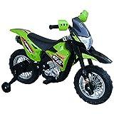 HOMCOM Elektro-Motorrad Kindermotorrad Elektrofahrzeug 3 bis 6 Jahre 3–6 km/h MP3 Musik LED-Licht Sound Metall + Kunststoff Grün 109 x 58,5 x 70,5 cm