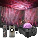 Sternenhimmel Projektor, Ocean Wave Nachtlicht Projektor mit Musik Lautsprecher,Fernbedienung, Led Farbwechsel Lampe mit Timing-Funktion, für Weihnachten KinderSchlafzimmer/Heimkino/Party (Schwarz)