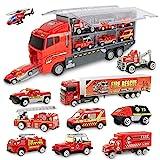 Jenilily 11 in 1 Feuerwehrauto Rettungsfahrzeug Autos Spielzeug für 3 4 5 Jahr Kinder Junge Mädchen