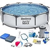 Polbaby Bestway 56408 Set Pool 305 x 76 cm Gartenpool Stahlrahmenbecken 17in1 Set mit Filterpumpe und Zubehör