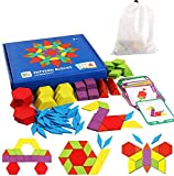 Tangram Kinder Geometrische Formen HolzPuzzles - Montessori Spielzeug Puzzle mit 155 geometrischen Formen und 24 Designkarten Geeignet für 3 4 5 6 7 jährige Kinder Pädagogisches Spielzeug mit