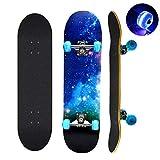 Skateboard, 78,7 x 20,3 cm komplettes Skateboard, 9 Schichten kanadisches Ahornholz Deck Skateboard mit bunten blinkenden Rädern für Kinder, Jugendliche und Erwachsene (blau)