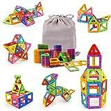 KIDCHEER Magnetische Bausteine Kinder 64 Teile Magnetic Bauklötze 3D Bausteine Lernspielzeug Magnet Spielzeug mit MEHRWEG Aufbewahrungstasche für Junge Mädchen ab 3 4 5 6 7 8 9 Jahre