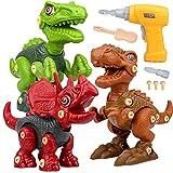 Vanplay Dinosaurier Montage Spielzeug mit Bohrmaschine Kinder, DIY Baustelle Spielzeug umfassen Tyrannosaurus Rex, Velociraptor und Triceratops, für Kinder Jungen Mädchen 3 Jahren