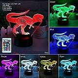 YYHMKB3D Dinosaurier Nachtlicht, 3D Illusion Lampe Drei Muster und 7 Farbwechsel Dekor Lampe mit Fernbedienung für Wohnzimmer Schlafzimmer Bar Bestes Geschenk Spielzeug