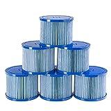 Arebos Poolfilter   6X Filterkartuschen Spa Whirlpools   Antimikrobieller Filter   Blau
