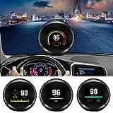 Auto-Head-Up-Display, FSVEYL-verbessertes Dual-Mode-HUD-OBD II/GPS mit Geschwindigkeit,Überdrehzahlwarnung,Kilometerstandsmessung, Wassertemperatur und Gilt für Fahrzeuge nach 2008 (P11)