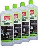 4x MELITTA 212382 Anti Calc Bio Flüssigentkalker, 250ml - 1 Liter Citrus-Entkalker für Kaffeevollautomaten Kaffeemaschinen Wasserkocher