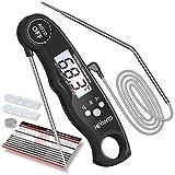 Hevanto Fleischthermometer Digital Grillthermometer, 2-in-1 Instant Read Bratenthermometer mit 2 Edelstahlsonden & Temperatur Voreinstellen Alarm Küchenthermometer für Küche, Braten, Grill, BBQ