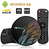 TICTID Android 9.0 TV Box HK1 MAX mit Tastatur 【4G+64G】 Smart tv Box unterstützt 4K/ 100M LAN/1080P/AV /H.265/WIFI 2.4G/5.8G Android TV Box Media Player