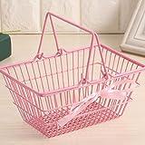 ZYING Netter Mini-Supermarkt Einkaufskorb Kleiner Korb Aufbewahrungskorb Aufbewahrungskorb Kinderspielhaus Spielzeug Einkaufskorb Rattan